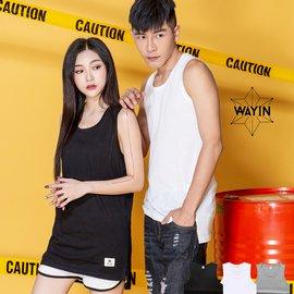 SL Store~WN8529~MIT獨創品牌WAYIN情侶素面前短後長開叉長版背心.黑 白 灰 M L XL