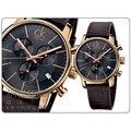 CK Calvin Klein 簡約時尚三眼計時皮帶錶-玫瑰金 # K2G276G3-公司貨