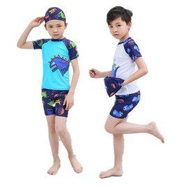 上新 三件套 m~4xl 男童速乾泳衣 泳褲 附泳帽 男童分體泳衣 泳裝 兒童泳褲 恐龍泳裝 中大童泳裝 小童泳裝