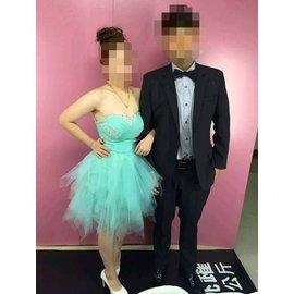 【二手】露肩短禮服 短蓬裙 禮服 主持人禮服 宴會小禮服 晚禮服 伴娘服 蓬蓬裙 藍色 水藍色 淺綠色