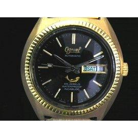 機械錶 [Ogival G2939] 愛其華 一般圓型土豪金錶[25石][黑色面]/中性/新潮錶