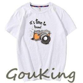 ~Gou king~炎夏男女小中大碼英文相機印圖棉質短袖T恤 M~5XL 5色  新上架2