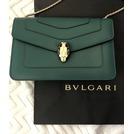 全新 寶格麗 BVLGARI 284944 綠色小型 琺瑯 蛇頭 22cm 肩背包
