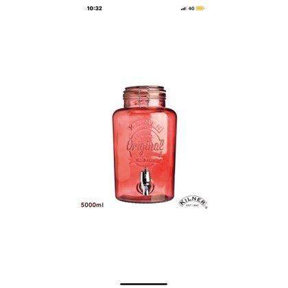 【KILNER】經典款派對野餐飲料桶 (紅色) 5L