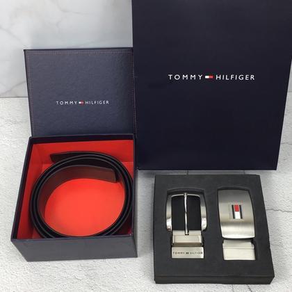 Tommy Hilfiger 湯米·希爾費格 男士真皮腰帶 針扣 雙扣頭皮帶禮盒裝長120CM