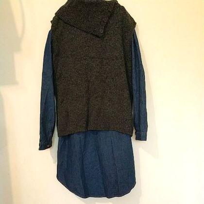 #x1f45a Lace專櫃石墨灰混色羊毛 領保暖背心